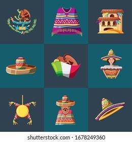 set of icons cinco de mayo vector illustration design