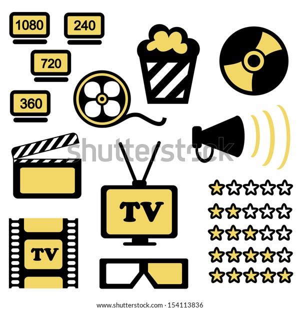 Set of icons of cinema hall (vector)