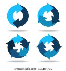 Set icons circle arrows. Cyclical process. Diagram. Circular arrows. Abstract design logo. Logotype art - vector