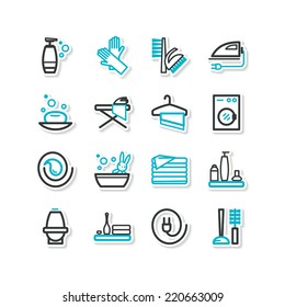Set of icons - a cleaning. A vector.