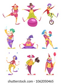 Set of icons clowns in colorful costumes with various elements including unicycle, puppet, ball isolated vector illustration
