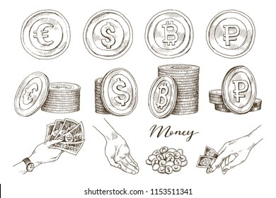 A set of icons of coins on the isolated white background. Bank notes dollar, Bank notes euro, ruble, bitcoin. Symbols of currencies in hand drawn sketch style. Vector illustration. Business, economy