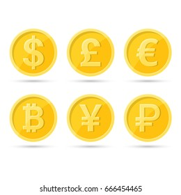 A set of icons of coins on the isolated white background.Bank notes dollar,  Bank notes euro, pound sterling, yuan, ruble, bitcoin.Symbols of currencies in flat style. Vector illustration.