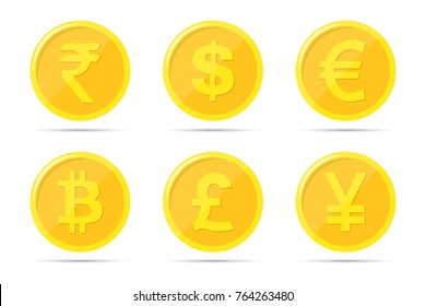 Set of icons of coins on the isolated white background. Bank notes of dollar, euro, pound sterling, yuan, rupee, bitcoin.