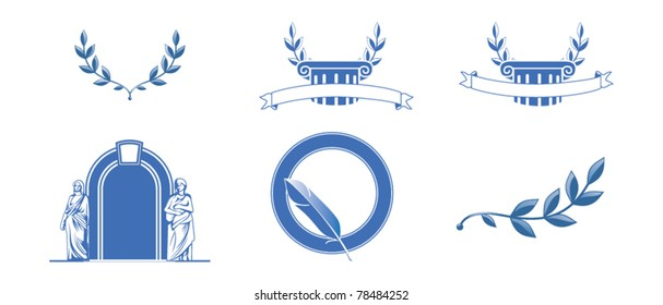 set of icons with columns and wreaths, guill and statues