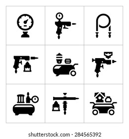 Set icons of compressor and accessories isolated on white. Vector illustration