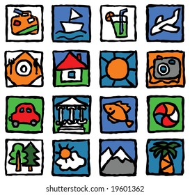The set of icons concerns the tourism, travel, rest and vacation.