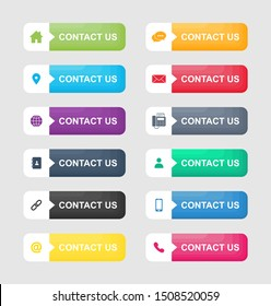 set icons of contact us button Isolated on white background. Vector Illustration.