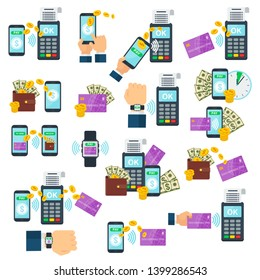 Set of icons of contactless payment using RFID or NFC technology. Purchase products or services via debit, credit or smartcards. Tap card near a point-of-sale terminal. Tap-and-go.