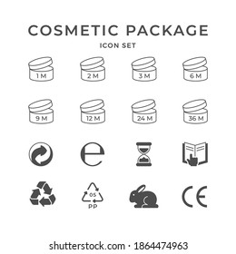 Set icons of cosmetic package