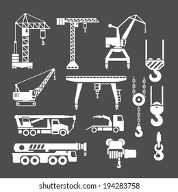 Set icons of crane, lifts and winches isolated on grey. Vector illustration