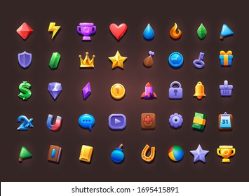 Set of icons for creating 2d game and app. Vector icons on isolate background. Vector illustration. - Shutterstock ID 1695415891