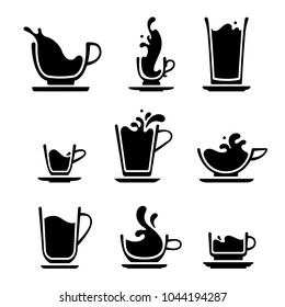 Set icons cups of tea, coffee, water, milk or juice. Black and white splashing silhouette
