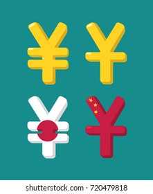 A set of icons with currency image Japanese Yen and Chinese Yuan.