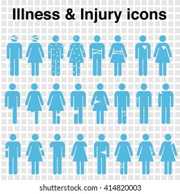 a set of icons depicting bodily injuries