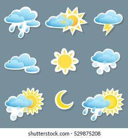 set of icons depicting different weather conditions, rain,snow,clouds,storms,clear weather, day and night,partly cloudy.