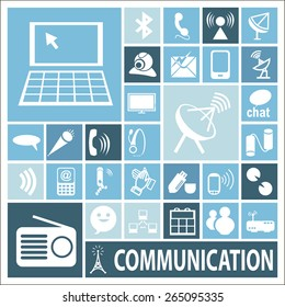 Set of icons devoted to means of communication, vector illustration, flat design