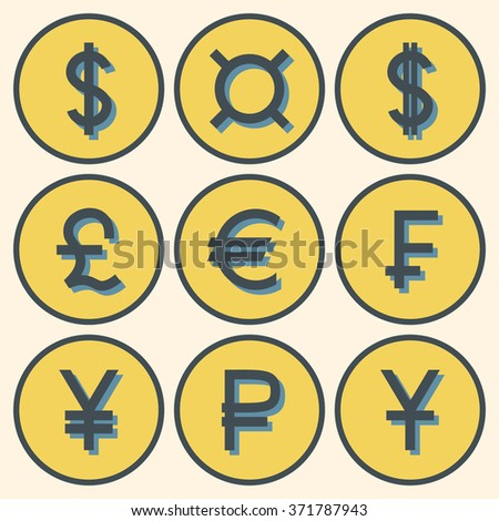 Set Icons Different Currency Symbols Shadows Stock Vector Royalty