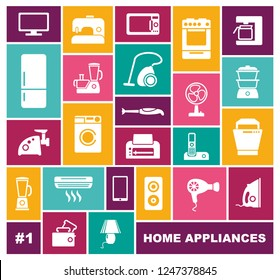 Set of icons of different home appliances in flat style