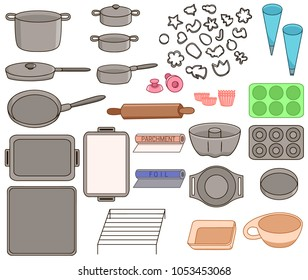Set icons of different kinds of cookware vector illustration sketch