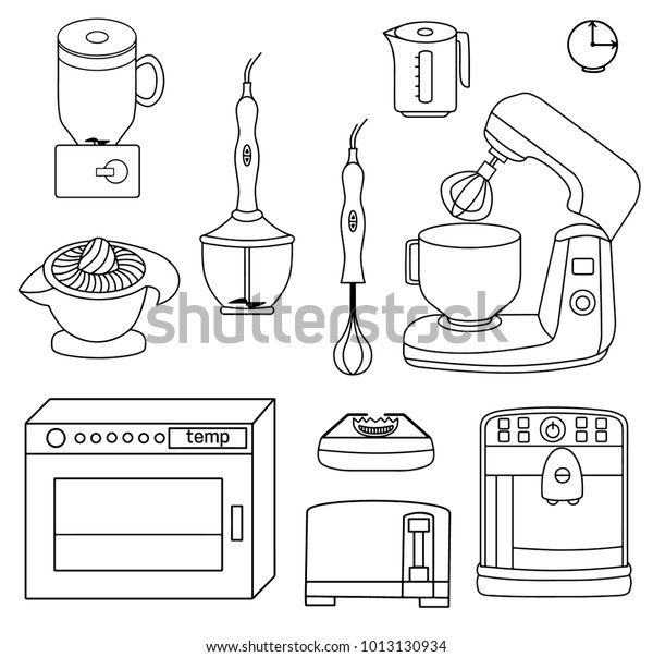 Set Icons Different Kinds Kitchen Appliances Stock Vector