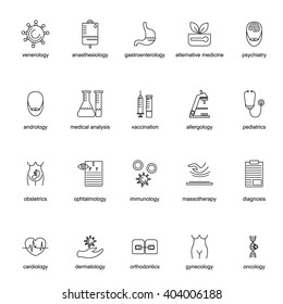 Set of icons for different medical specialization. Thin line style. Vector illustration.