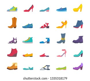 Set of icons of different shoes. Sneakers, loafers, sandals, ballet shoes, cowboy boots, pumps, sports, with and without heels. Vector cartoon flat style illustration isolated on white background.