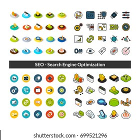 Set of icons in different style - isometric flat and otline, colored and black versions, vector symbols - Search engine optimization collection