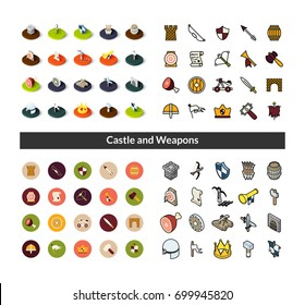 Set of icons in different style - isometric flat and otline, colored and black versions, vector symbols - Castle and weapons collection