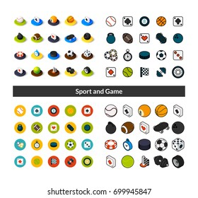 Set of icons in different style - isometric flat and otline, colored and black versions, vector symbols - Sport and game collection