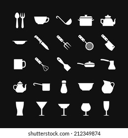 Set icons of dishware and kitchen accessories isolated on black. Vector illustration