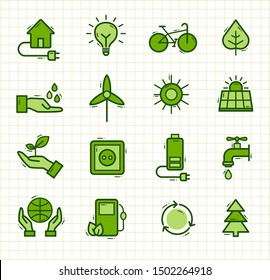 Set of icons - doodles representing ecology, environment, renewable energies, nature conservation. Infographic modern thin lines vector design.