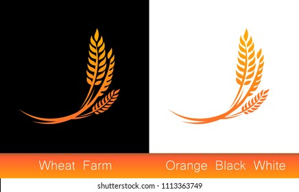 Set of Icons, Ears of Wheat, Vector Illustration, Icon of Premium Quality Farm Product on black and white background.