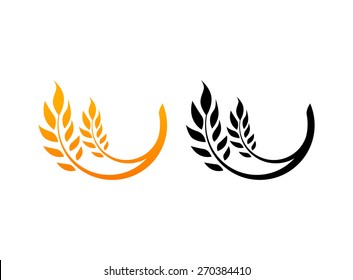 Set of Icons, Ears of Wheat, Vector Illustration, Icon of Premium Quality Farm Product in gold and black color