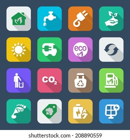 set of icons for ecology and environmental industry. with shadow