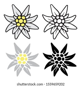 Set icons of Edelweiss. Simple illustration of Edelweiss vector icon for Internet. Traditional Bavarian symbol.