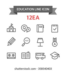 Set of icons, education line icon