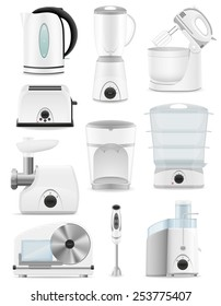 set icons electrical appliances for the kitchen vector illustration isolated on white background