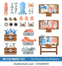 Set of icons and elements in a flat style. Fish market and the different seafood in  flat style. Showcases fish market and fish boxes.