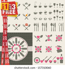 Set of icons and elements for restaurants, food and drink. Special offer 4 in 1 package.