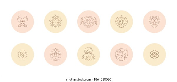 Set of icons and emblems for social media stories highlight covers in line art style vector illustration. Modern drawings with woman signs and magic boho elements for beauty blogger or photographer.