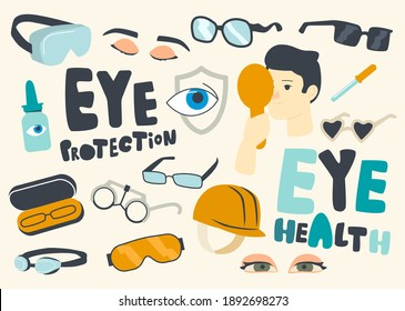 Set of Icons Eyes Protection, Eyesight Diagnostics Theme. Eyeglasses, Optometry and Solution Bottle with Pipette. Eyesight Checkup, Health Care, Oculist Appointment Concept. Linear Vector Illustration
