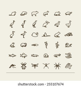 Set with icons -  fauna of fresh reservoirs - bogs, lakes, rivers. A vector.