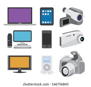 Set of icons featuring electronics objects.