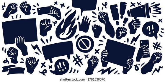 Set of icons featuring raised up fists, hands holding banners, taking photos, angry speech bubbles. Protest, demonstration, manifestation themed concept background. Vector illustration.