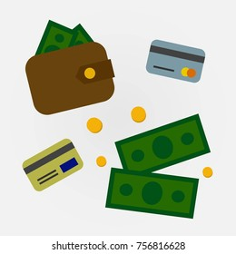 """Set icons """"Finance"""": money, wallet, coins, credit cards"""