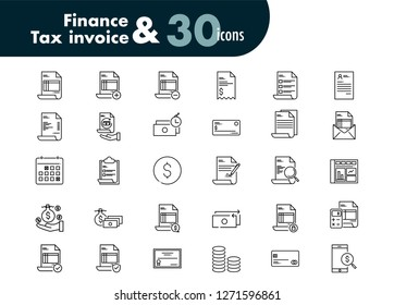Set icons of finance and tax invoice 30 pcs
