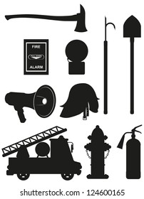 set icons of firefighting equipment black silhouette vector illustration isolated on white background