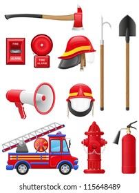 set icons of firefighting equipment vector illustration isolated on white background