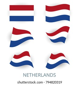 Set of icons of the flag of Netherlands. A collection of various images of the country's flags. Vector illustration.